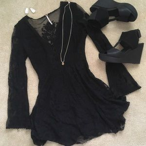 Free People black lace dress with bell sleeves